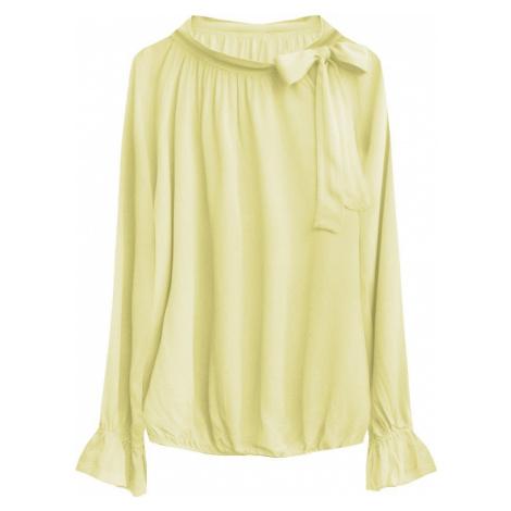 Žlutá bavlněná dámská blůzka s vázaným stojáčkem (298ART) žlutá Made in Italy