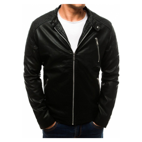 Dstreet Černá koženková bunda v jednoduchém provedení