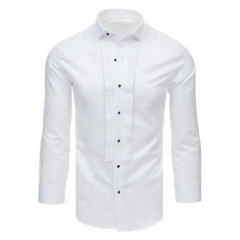 Smokingová košile s plisováním bílá Dstreet