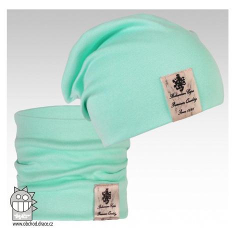 Bavlněná čepice a nákrčník Dráče - vzor 05, mentolová