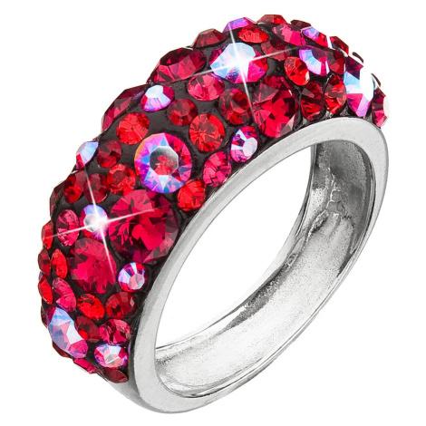 Evolution Group Stříbrný prsten s krystaly Swarovski červený 35031.3 cherry
