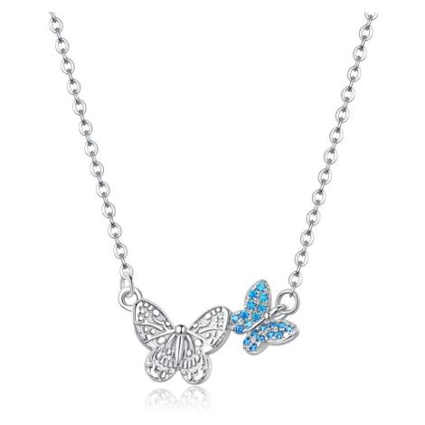 Linda's Jewelry Stříbrný náhrdelník se zirkony Butterfly Effect INH045