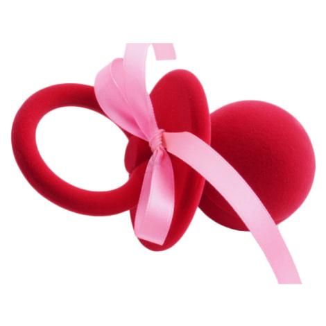 JKBOX Sametová krabička Červený Dudlík s mašlí na prsten nebo náušnice pecky IK025