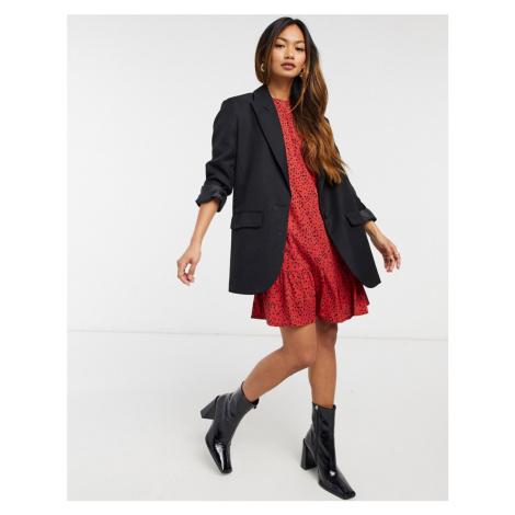AX Paris drop hem dress in spot in burgundy spot-Red