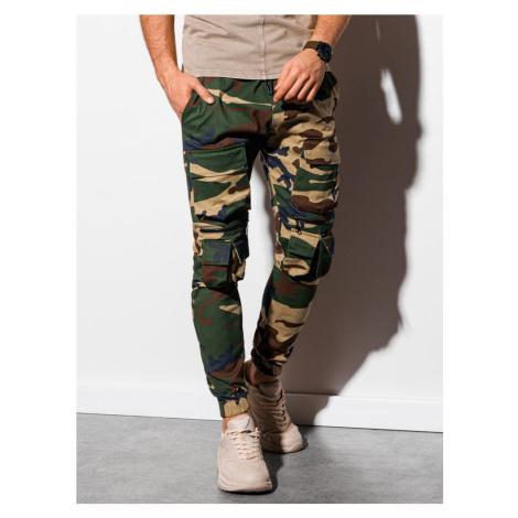 Ombre Clothing Stylové maskáčové zeleno-hnědé jogger kalhoty P995