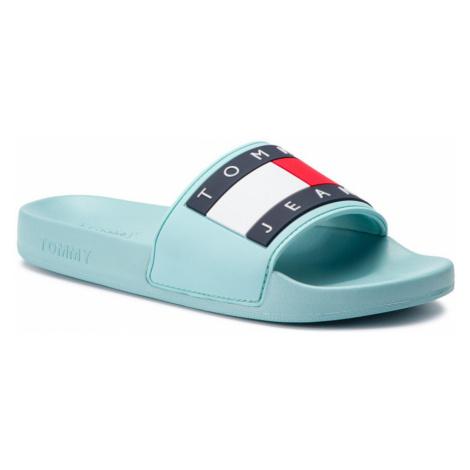 Tommy Jeans dámské světle modré pantofle Flag Tommy Hilfiger