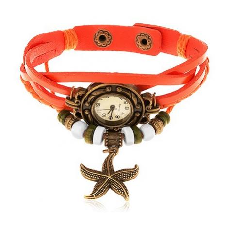 Analogové hodinky, ozdobně vyřezávané, zapletený řemínek oranžové barvy Šperky eshop
