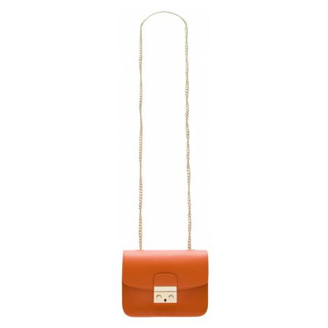 Dámská kožená crossbody kabelka ražená - oranžová Glamorous
