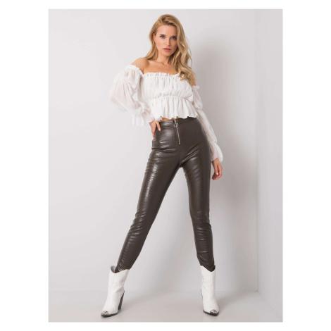 Khaki kalhoty z umělé kůže FPrice