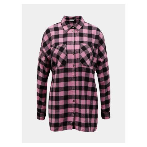 Noisy May růžová kostkovaná košile