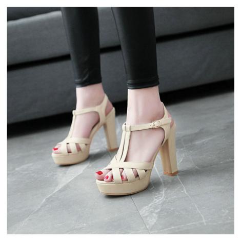 Elegantní kožené sandály páskové boty na vysokém podpatku