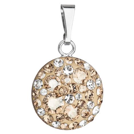 Evolution Group Stříbrný přívěsek s krystaly Swarovski zlatý kulatý 34225.5 gold