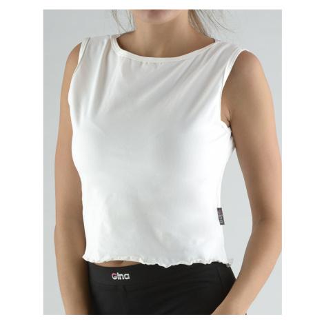 GINA Tričko bez rukávu s ozdobným krajem 98008-MxB bílá