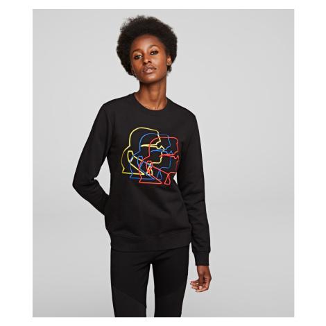 Mikina Karl Lagerfeld Multicolor 3D Profile Sweat - Černá