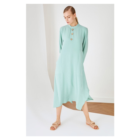 Trendyol Mint Crew Neck Buttoned Tunic