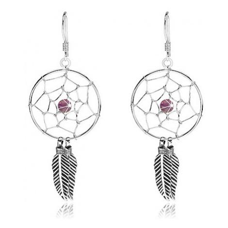 Visací náušnice, stříbro 925, fialová kulička, lapač snů s pírky, 20 mm Šperky eshop