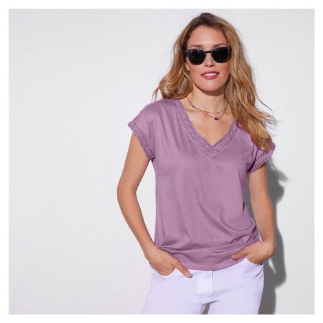 Blancheporte Jednobarevné tričko macramé s krátkými rukávy šeříková