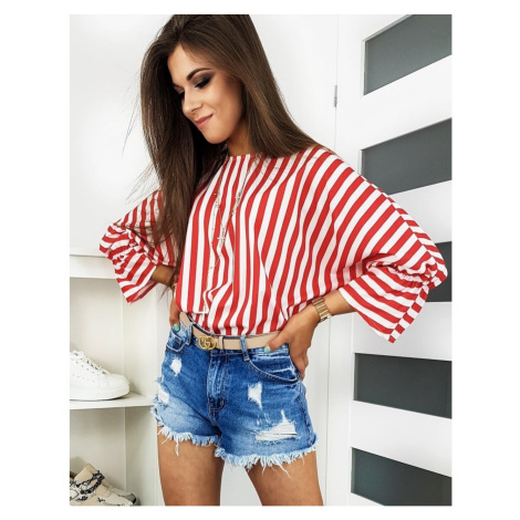 STRIPE women's blouse with red and white stripes RY0650 DStreet