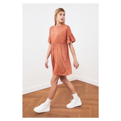 Trendyol Orange Flywheel Knitted Dress