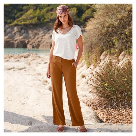 Blancheporte Široké vzdušné kalhoty karamelová
