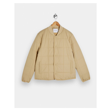 Topman quilted liner jacket in stone-Cream