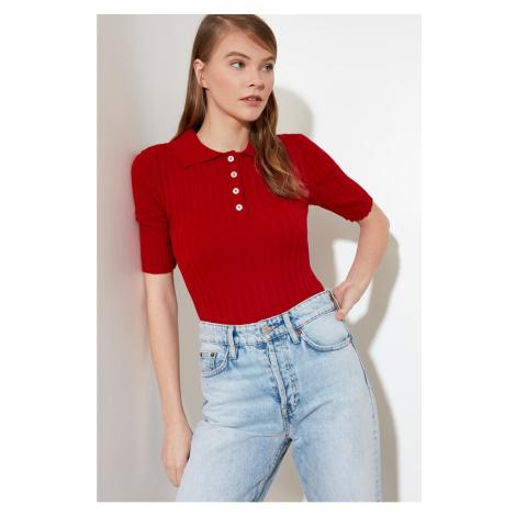 Trendyol Red Polo Neck Knitwear Sweater