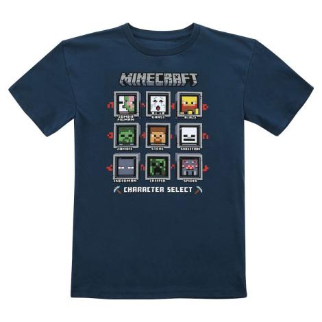 Minecraft Character Select detské tricko tmavě modrá