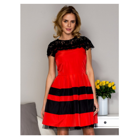 Women´s dress with lace and red sequin trim Fashionhunters