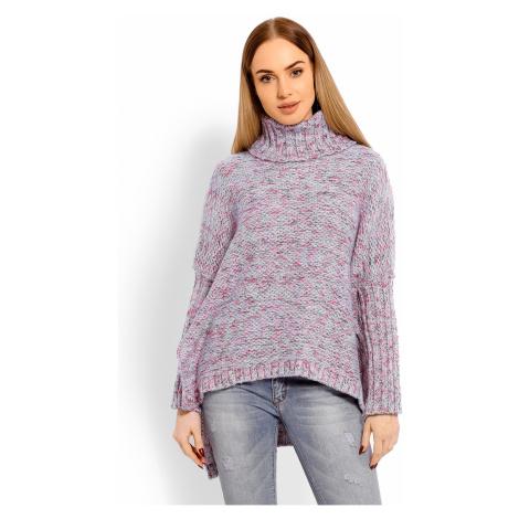 Dámský asymetrický rolák vlněný pletený svetr s rolákem pulovr