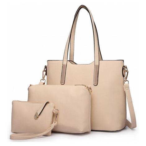 Béžový praktický dámský 3v1 kabelkový set Manmie Lulu Bags