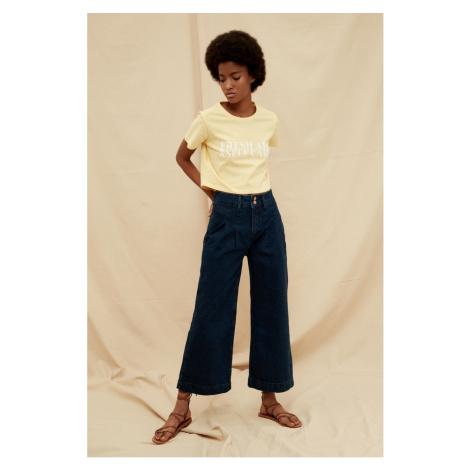 Trendyol Navy Double Button High Waist 100% Organic Cotton Wide Leg Jeans