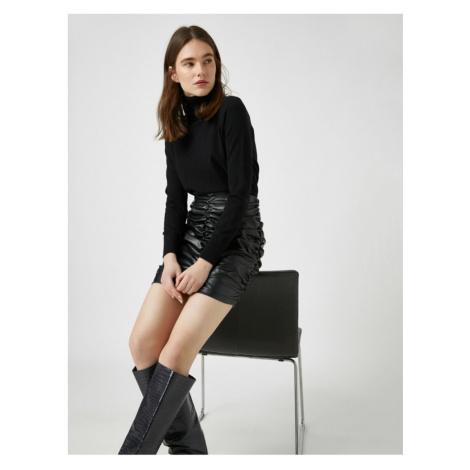 Koton Leather Look Gathered Mini Skirt