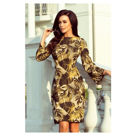 Dámské svetříkové šaty s rozšířnými rukávy a se vzorem listů v hořčicové barvě model 6397838 NUMOCO
