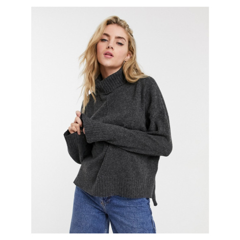 Noisy May roll neck jumper with seam detail in dark grey