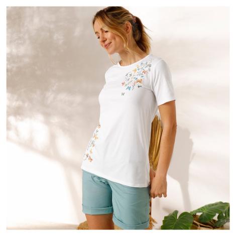 Blancheporte Bavlněné tričko s potiskem motýlů bílá