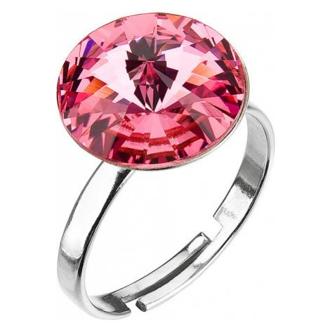 Evolution Group Stříbrný prsten s krystaly růžový 35018.3