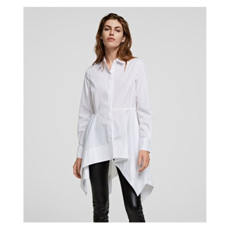 Košile Karl Lagerfeld Peplum Tunic Shirt - Bílá