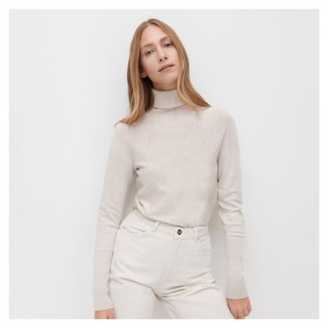 Reserved - Vypasovaný svetr se stojáčkem - Béžová