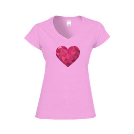 Dámské tričko V-výstřih Srdce mozaika