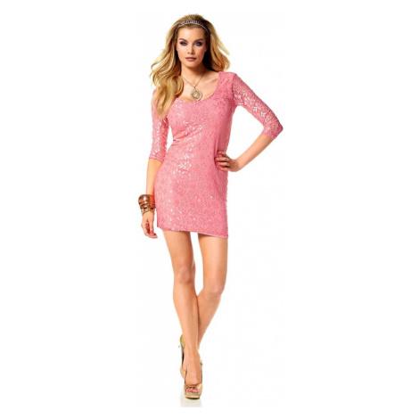MELROSE MELROSE mini šaty, krajkové šaty v lososové barvě