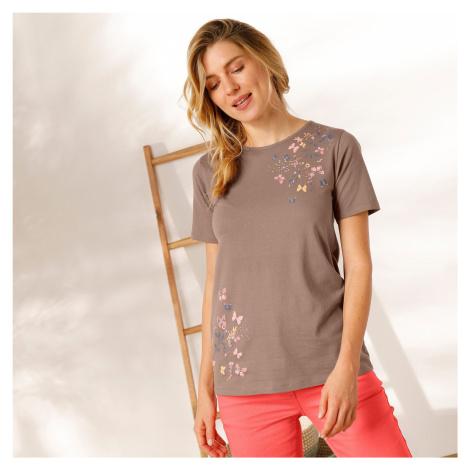 Blancheporte Bavlněné tričko s potiskem motýlů hnědošedá