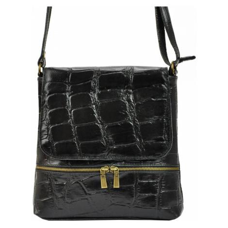 Kožená dámská crossbody kabelka v kroko designu černá
