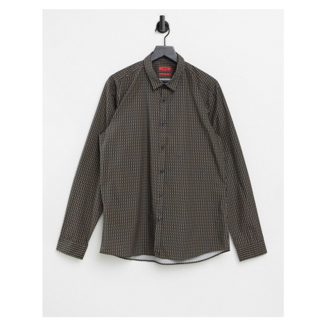 HUGO Ero3 regular fit cotton shirt-Brown Hugo Boss