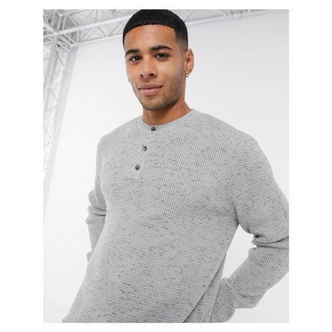 ASOS DESIGN knitted waffle grandad neck jumper in light grey