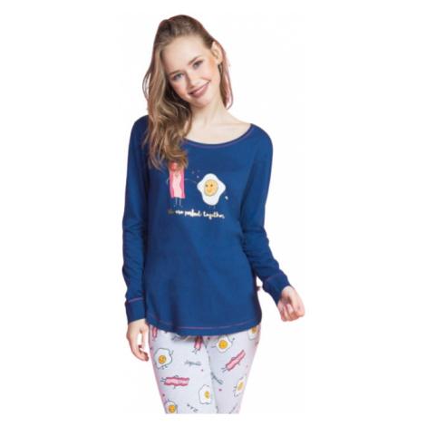 Dámské pyžamo dlouhé Vienetta Secret Breakfast | tmavě modrá