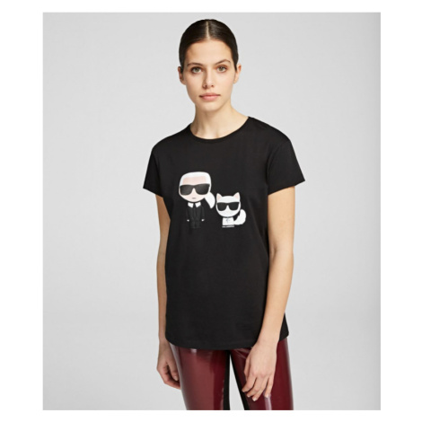 Tričko Karl Lagerfeld Ikonik Karl & Choupette Tee - Černá
