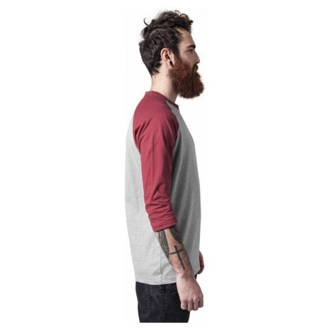 Contrast 3/4 Sleeve Raglan Tee - grey/ruby Urban Classics
