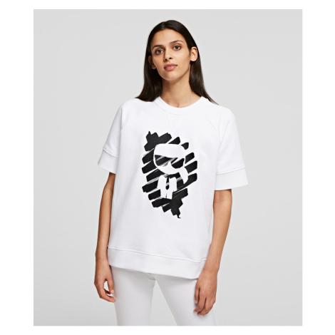 Mikina Karl Lagerfeld S/Slv Ikonik Graffiti Sweat - Bílá