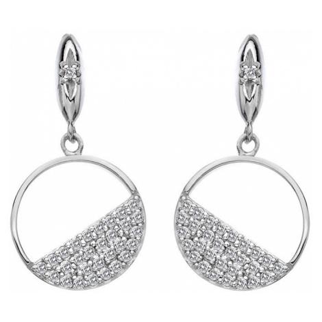 Hot Diamonds Stříbrné kruhové náušnice s diamanty Horizon Topaz DE621
