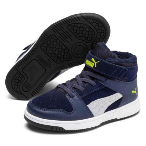 Puma REBOUND LAYUP FUR SD V PS tmavě modrá - Dětská volnočasová obuv